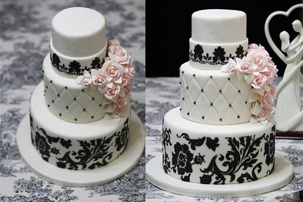 White Wedding Cake - Pink - Black